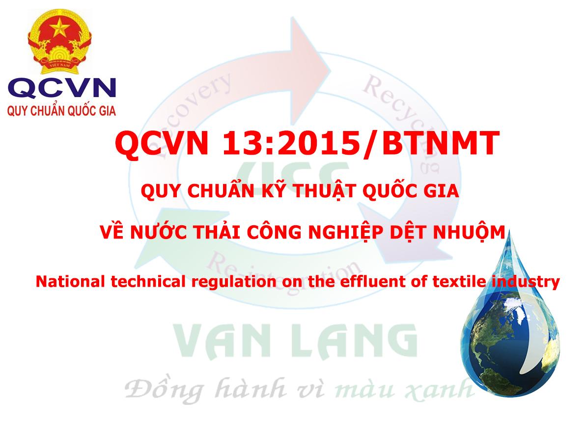 QCVN 13 - MT : 2015/BTNMT - QUY CHUẨN KỸ THUẬT QUỐC GIA VỀ NƯỚC THẢI CÔNG NGHIỆP DỆT NHUỘM